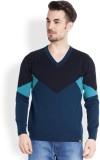 Parx Solid V-neck Men Blue Sweater