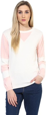Tshirt Company Solid Round Neck Casual Women's White, Pink Sweater