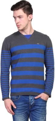 TSAVO Striped V-neck Casual Men's Grey Sweater