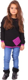 Yellow Apple Solid Round Neck Casual Girls Black Sweater