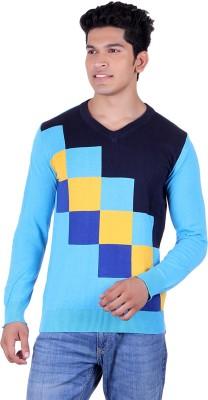 Ogarti Solid, Checkered V-neck Casual Men,s Multicolor Sweater