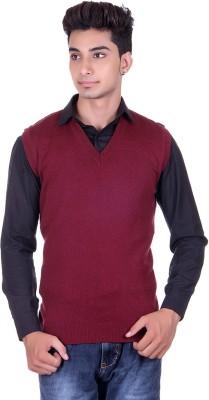 Pierre Carlo Solid V-neck Casual Men's Maroon Sweater