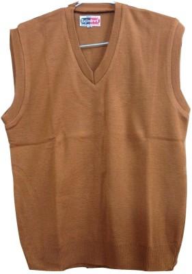 Rajindras Solid V-neck Casual Men's Brown Sweater