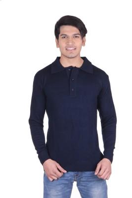 Vivid Bharti Solid V-neck Men's Dark Blue Sweater