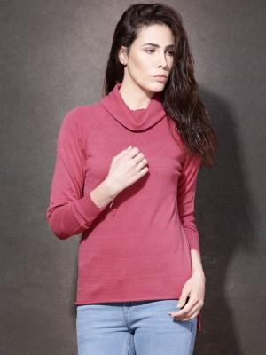 Roadster Self Design Turtle Neck Casual Women's Pink Sweater
