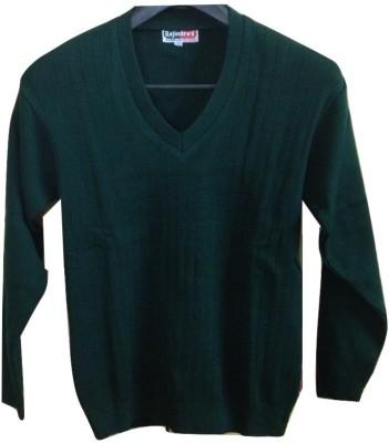 Rajindras Solid V-neck Casual Women's Dark Green Sweater