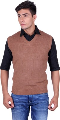 eWools Solid V-neck Party Men's Brown Sweater