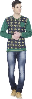 Alay Graphic Print V-neck Casual Men's Green Sweater