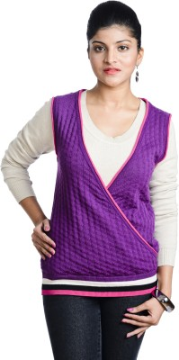 Aussehen Solid V-neck Casual Women's Purple Sweater