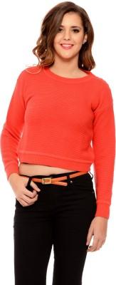MSMB Solid Round Neck Casual Women's Orange Sweater