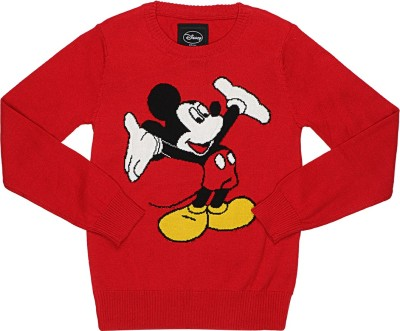 Mickey & Friends Printed Round Neck Casual Boy's Red Sweater
