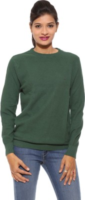 Pepe Solid Round Neck Casual Women's Green Sweater