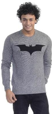 Dark Knight Printed Round Neck Casual Men's Grey Sweater