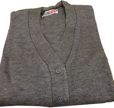 Rajindras Self Design V-neck Casual Women's Grey Sweater