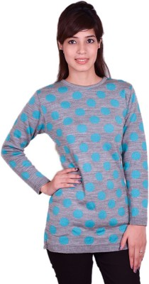 Cee-For Floral Print Round Neck Casual Women's Grey Sweater