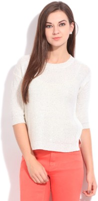 Elle Solid Casual Women's White Sweater