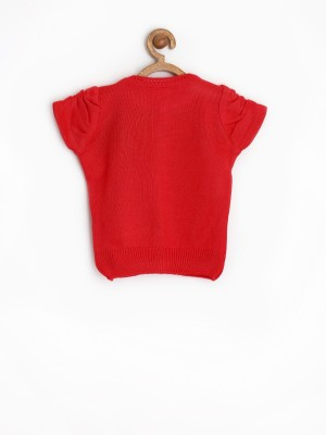 Yellow Kite Woven Round Neck Casual Baby Girl's Red Sweater