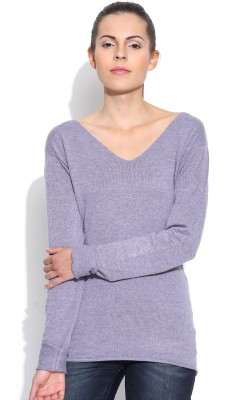 Silly People Solid V-neck Casual Women's Purple Sweater