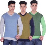DARK FEVER Solid V-neck Casual Men Multi...