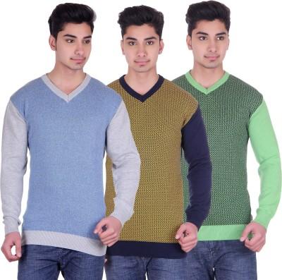 DARK FEVER Solid V-neck Casual Men's Multicolor Sweater