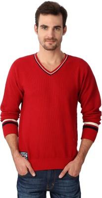 University of Oxford Solid V-neck Men's Red Sweater