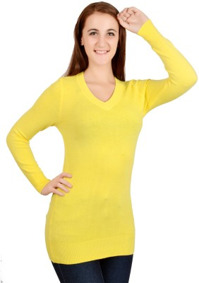 GnC Solid V-neck Casual, Festive, Party, Wedding Women's Yellow Sweater