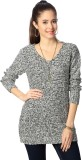People Woven V-neck Casual Women Grey Sw...