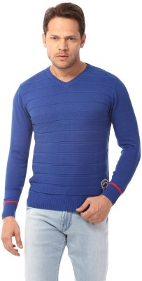 Club Fox Striped V-neck Casual Men's Blue Sweater