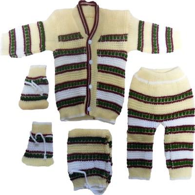 BornBabyKids Woven Scoop Neck Baby Boy's Multicolor Sweater