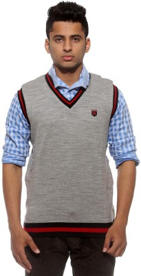 Sports 52 Wear Solid V-neck Casual Men's Reversible Grey Sweater