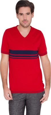 IDENTITI Solid V-neck Casual Men's Red Sweater