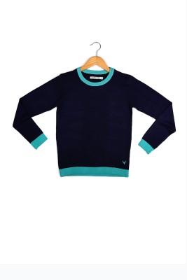 Allen Solly Self Design Round Neck Girl's Dark Blue Sweater