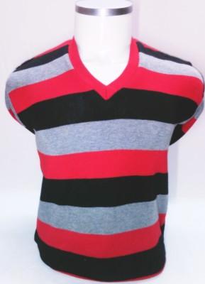 ADK Striped V-neck Men's Multicolor Sweater