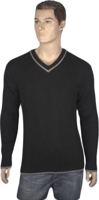 Nolex Self Design V-neck Casual Men's Black, Grey Sweater