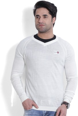 Pepe Jeans Solid V-neck Casual Men,s White Sweater