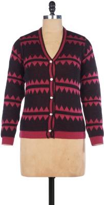 Pazaro Striped V-neck Casual Women's Pink Sweater