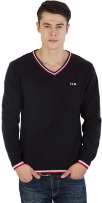 Fila Striped V-neck Sports Men's Black, Red, White Sweater