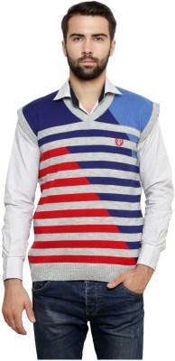 Leebonee Striped V-neck Casual Men's Grey Sweater