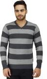 Prakum Striped V-neck Casual Men Grey Sw...