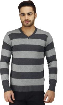 Prakum Striped V-neck Casual Men's Grey Sweater