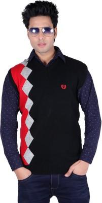 Leebonee Graphic Print V-neck Casual Men Black Sweater