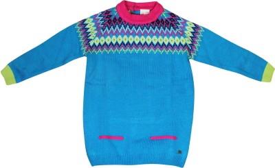 FS Mini Klub Printed Round Neck Casual Girl's Blue Sweater