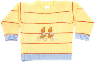 Zonko Style Striped Round Neck Casual Boy's Yellow Sweater