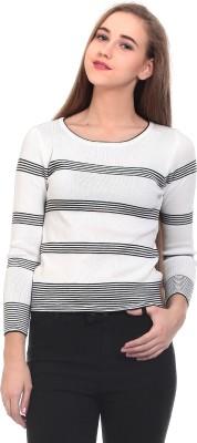 Claude 9 Striped Crew Neck Casual Girl's White Sweater