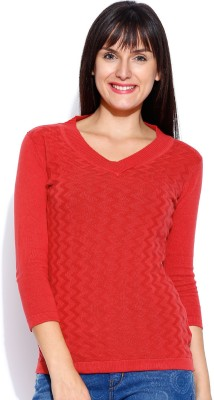 Manola Self Design V-neck Casual Women's Red Sweater