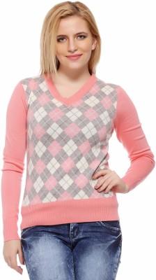 Fasnoya Argyle V-neck Casual Women's Pink Sweater