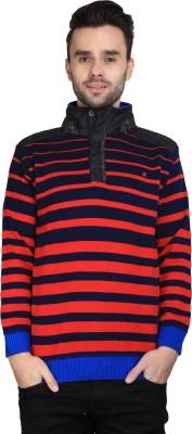 BRAVEZI Striped Turtle Neck Casual Men,s Blue, Red Sweater
