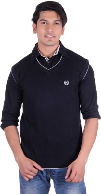 Ogarti Solid V-neck Casual, Party, Festive Men's Black Sweater