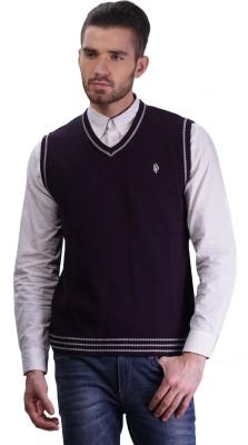 Priknit Solid V-neck Men's Purple Sweater
