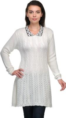Belle Solid V-neck Casual Women,s White, Black Sweater